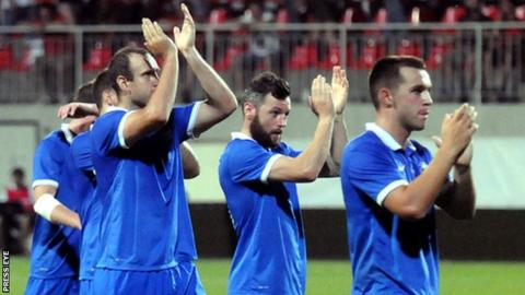 Linfield players applaud their fans after Thursday's game in Slovakia