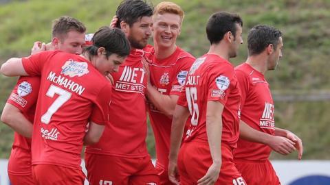 Portadown celebrate a goal in their 3-2 home win over Ballymena United in the Irish Premiership