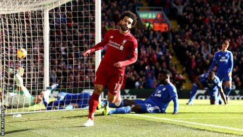 Mohamed Salah celebrates after opening the scoring for Liverpool against Cardiff