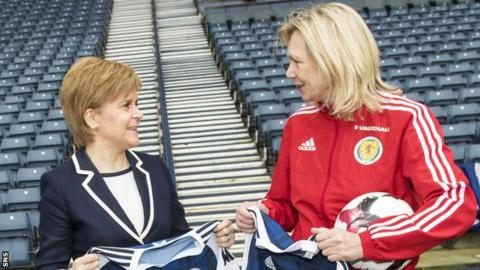 Scotland's First Minister, Nicola Sturgeon, and Scotland head coach Anna Signeul