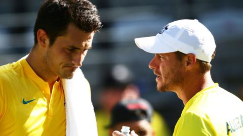Bernard Tomic and Lleyton Hewitt