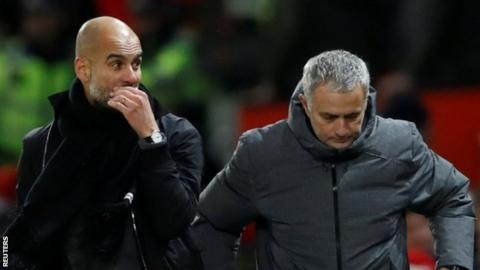 Pep Guardiola and Jose Mourinho at the Manchester derby