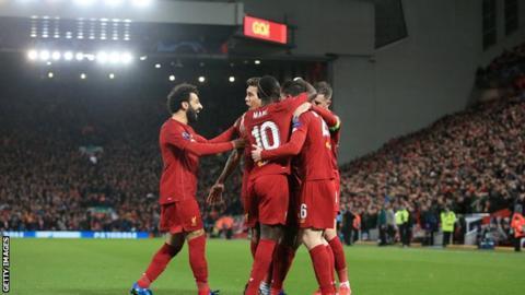 League leaders Liverpool celebrate a goal
