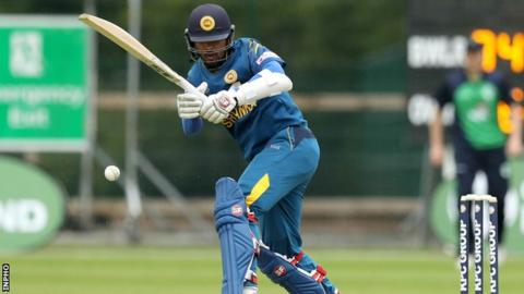 Dinesh Chandimal clips the ball away during his unbeaten century against Ireland on Thursday