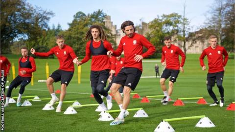 Wales players training at the Vale Resort