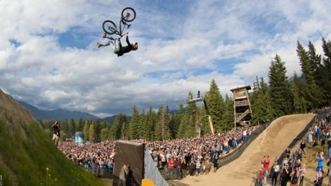 WHISTLER, CANADA - AUGUST 17: Emil Johansson of Sweden wins the Whistler Crankworx Red Bull Joyride event at the Whistler Mountain Bike Park on August 17, 2019, in British Columbia, Canada. (Photo by John Gibson/Getty Images)
