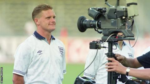 Paul Gascoigne is filmed before the 1990 World Cup semi-final