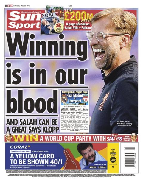 Saturday's Sun back page