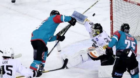 Darcy Murphy is denied as Panthers netminder Patrick Galbraith deflects his shot at the SSE Arena