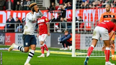 Callum Robinson of Preston North End celebrates scoring