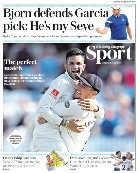 Daily Telegraph sport section on Thursday