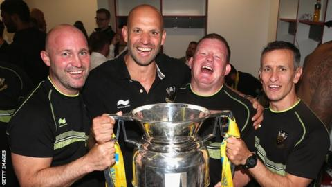 Jim Mallinder with the Premiership trophy