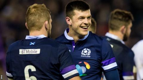 Scotland wing Blair Kinghorn celebrates the win over England