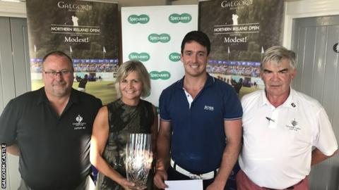 (L-R) Paul Hughes, Captain Galgorm Castle Golf Club, Valerie Penney, Specsavers Ballymena, Colin Fairweather, NI Amateur Open champion 2017 and John Carruthers, Honorary Secretary Galgorm Castle Golf Club
