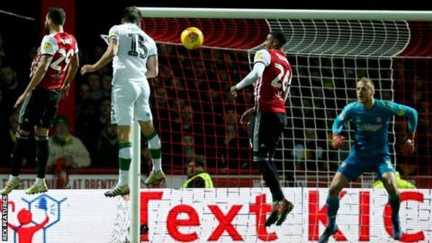 Timm Klose heads Norwich level at Brentford