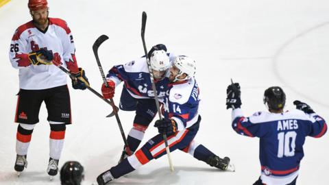 21st June 2019, OBrien Group Arena, Melbourne, Victoria, Australia; 2019 Ice Hockey Classic, Canada versus USA; Ryan Siroky and Jake Kulevich of USA celebrate scoring a goal (photo by Morgan Hancock/Action Plus via Getty Images)
