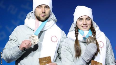 Alexander Krushelnitsky won bronze in the mixed doubles alongside wife Anastasia Bryzgalova