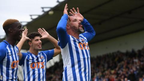 Kris Boyd (right) celebrates his hat-trick for Kilmarnock