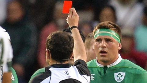Referee Mathiue Raynal red cards CJ Stander