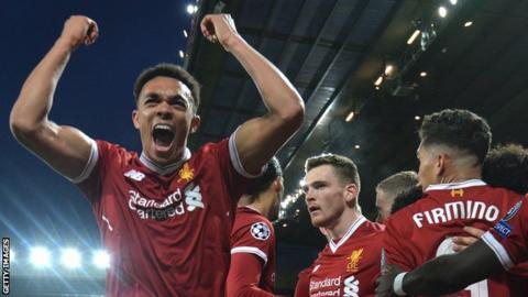 Trent Alexander-Arnold and Liverpool team-mates celebrate