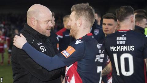 Ross County co-managers Steven Ferguson congratulates Michael Gardyne