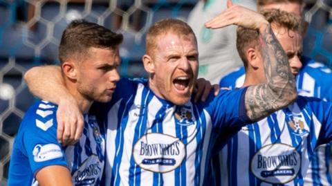 Kilmarnock's Chris Burke (centre) celebrates his goal