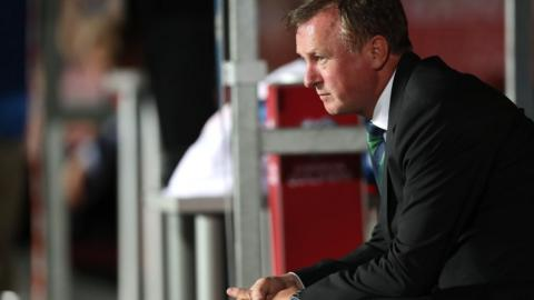 Northern Ireland manager Michael O'Neill watches his side get their World Cup qualifying campaign underway against the Czech Republic in Prague