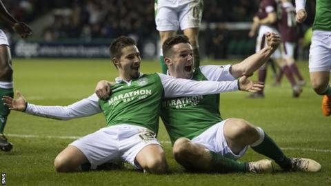Jamie Maclaren celebrates his goal against Hearts