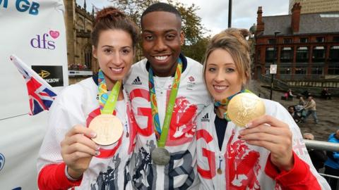 Bianca Walkden, Lutalo Muhammad and Jade Jones