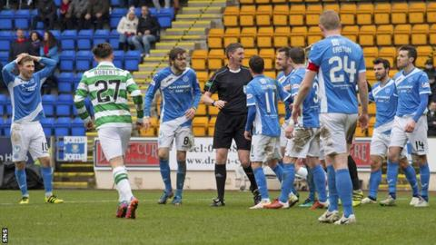 St Johnstone players with referee Craig Thomson