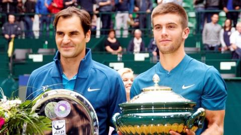 Federer and Coric with the trophies
