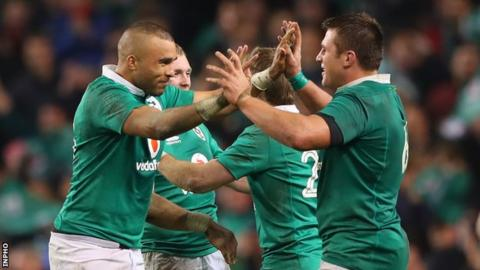 Simon Zebo and CJ Stander celebrate after Saturday's Test win over Australia