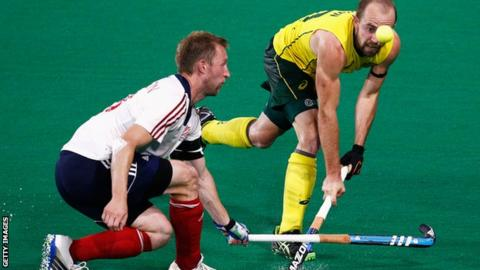 Barry Middleton playing hockey for Britain