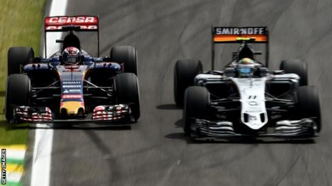 Max Verstappen overtakes Sergio Perez