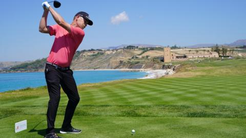 SCIACCA, ITALY - MAY 12: Jeff Winther of Denmark plays a shot during the third round of the The Rocco Forte Open at the Verdura Gol Resort on May 12, 2018 in Sciacca, Italy.