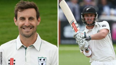 Daryl Mitchell (left) was first to three figures before Worcestershire debutant Hamish Rutherford