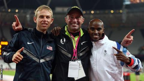 Salazar (centre) alongside Farah (right) and training partner Galen Rupp (left) at the London 2012 Olympics