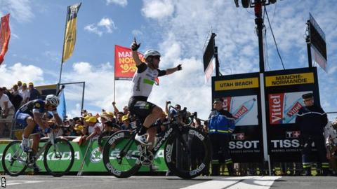 Mark Cavendish claimed the first stage of the 2016 Tour de France.