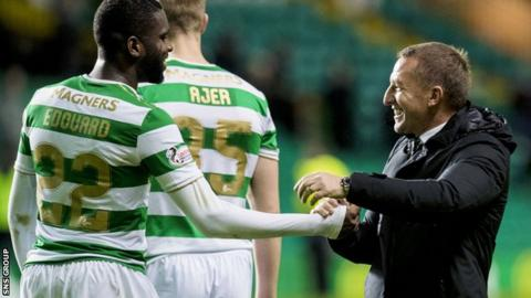 Celtic manager Brendan Rodgers with striker Odsonne Edouard (right)