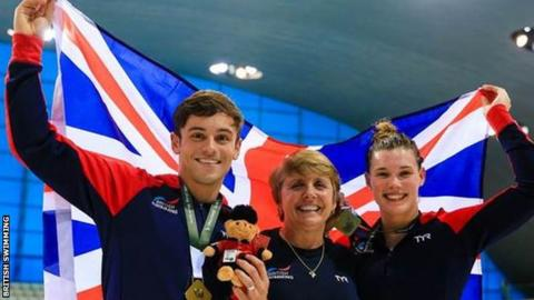 Tom Daley and Grace Reid celebrate gold