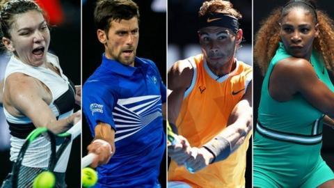 Halep, Djokovic, Nadal and Serena Williams
