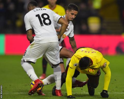 Kyle Naughton appears to stamp on the leg of Watford's Stefano Okaka