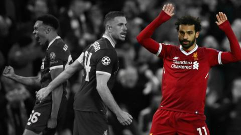 Mohamed Salah celebrates scoring