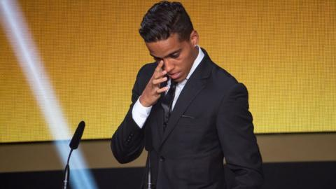 Wendell Lira cries on receiving the Puskas Award