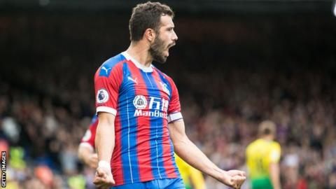 Crystal Palace 2-0 Norwich City: Luka Milivojevic scores on 100th appearance