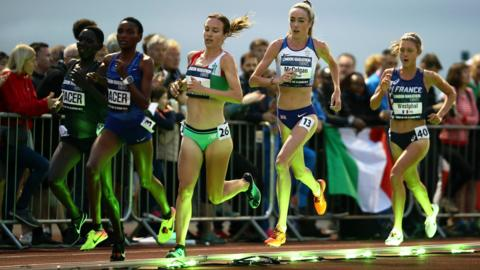 London, England, 6 July: British athletes Stephanie Twell and Eilish McColgan were among the field taking part in the Women's European 10,000m Cup, part of the Night of 10,000m PBs at Parliament Hill Athletics Track. (Photo by Bryn Lennon/Getty Images)