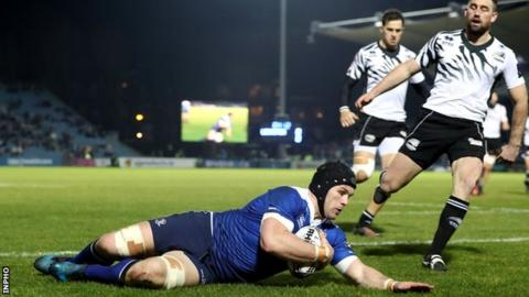 Sean O'Brien scores Leinster's first try in the win over Zebre