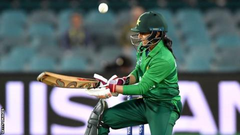 Pakistan captain Bismah Maroof plays the ramp shot against England that led to her fracturing her thumb