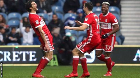 George Friend celebrates his first Middlesbrough goal since 2016