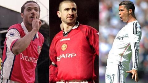 Thierry Henry, Eric Cantona and Cristiano Ronaldo